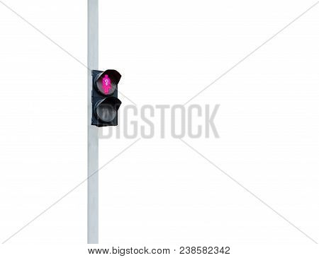 Pink Traffic Light With Woman And Sign Of Feminism At The Pink Traffic Light. Pink Woman And White S