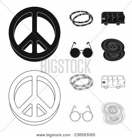 A Hippie Sign, Beads, A Bus, Round Glasses.hippy Set Collection Icons In Black, Outline Style Vector