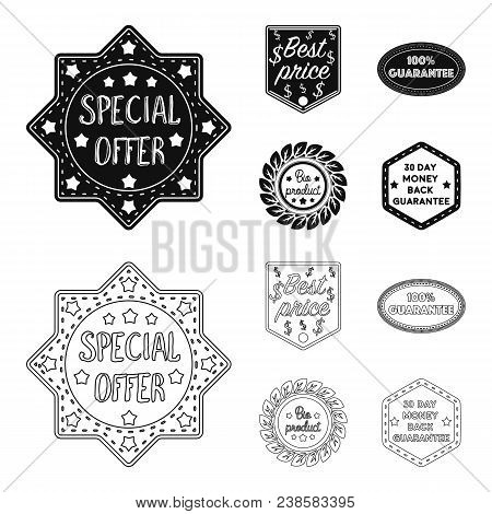 Special Offer, Best Prise, Guarantee, Bio Product.label, Set Collection Icons In Black, Outline Styl