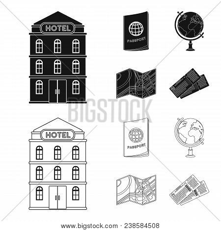 Vacation, Travel, Passport, Globe .rest And Travel Set Collection Icons In Black, Outline Style Vect