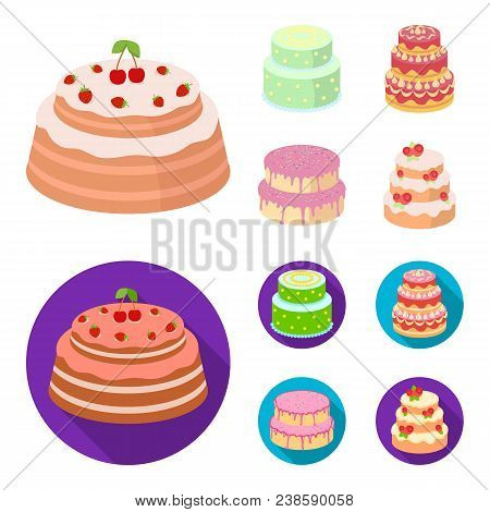 Sweetness, Dessert, Cream, Treacle .cakes Country Set Collection Icons In Cartoon, Flat Style Vector