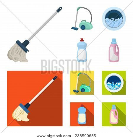 A Mop With A Handle For Washing Floors, A Green Vacuum Cleaner, A Window Of A Washing Machine With W