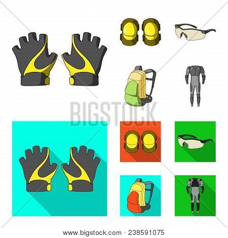 Gloves, Elbow Pads, Goggles, Cyclist Backpack.cyclist Outfit Set Collection Icons In Cartoon, Flat S
