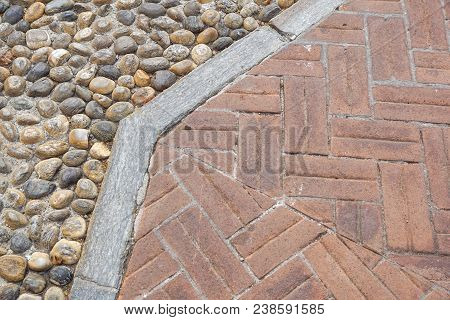 Floor Design With Terrace Tiles And Ornamental Gravel Various Materials For Flooring In The Garden B