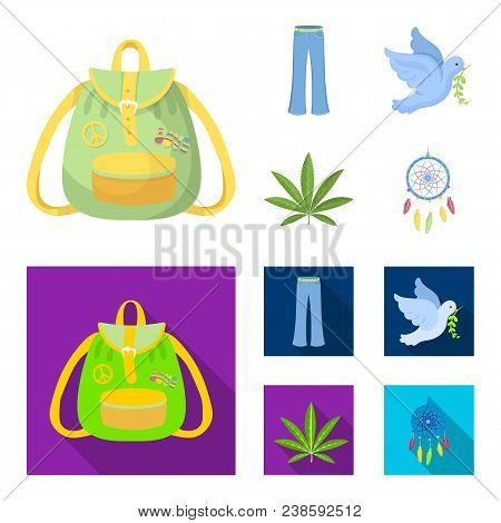 A Cannabis Leaf, A Dove, Jeans, A Backpack.hippy Set Collection Icons In Cartoon, Flat Style Vector