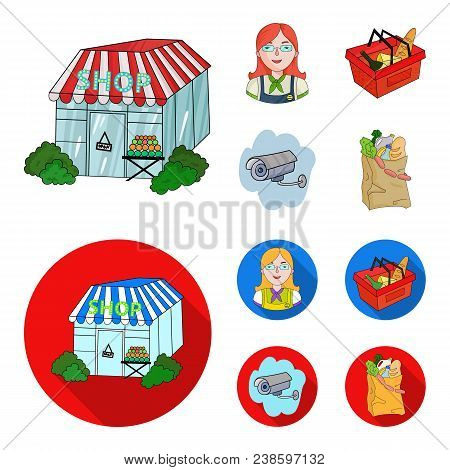 Salesman, Woman, Basket, Plastic .supermarket Set Collection Icons In Cartoon, Flat Style Vector Sym