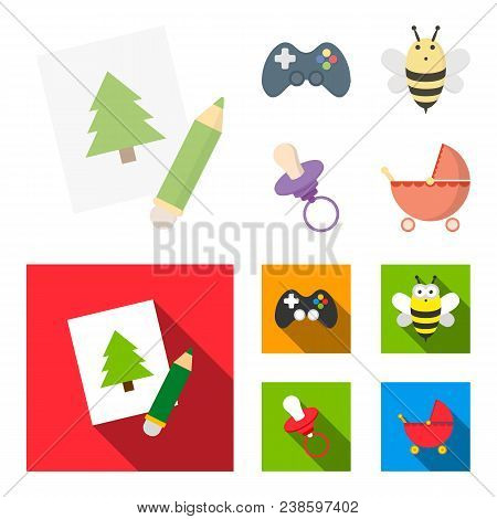 Picture, Dzhostik, Bee, Nipple.toys Set Collection Icons In Cartoon, Flat Style Vector Symbol Stock