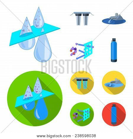 Filter, Filtration, Nature, Eco, Bio .water Filtration System Set Collection Icons In Cartoon, Flat