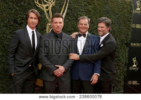 LOS ANGELES - APR 29:  Michael Easton, Steve Burton, Wally Kurth, Greg Vaughn at the 45th Daytime Emmy Awards at the Pasadena Civic Auditorium on April 29, 2018 in Pasadena, CA