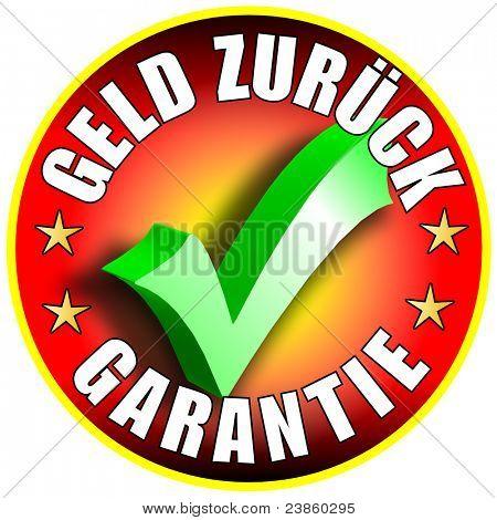 Money Back Guarantee Button/Label, german version,