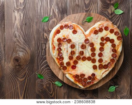 Pepperoni Pizza In Heart Shape And Dad Word