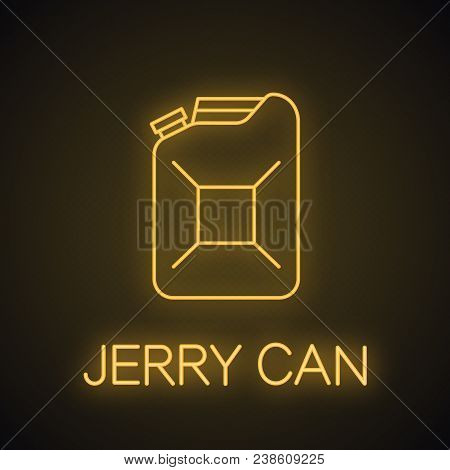 Steel Jerry Can Neon Light Icon. Fuel Container. Glowing Sign. Vector Isolated Illustration