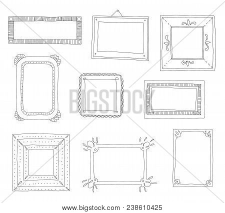 Decorative Set Template Photo Frames Isolated On White Background. Scrapbook Concept. These Photo Fr