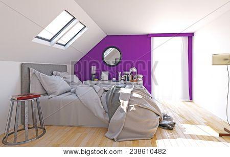 modern attic bedroom interior, 3d render concept