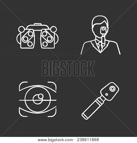 Ophthalmology Chalk Icons Set. Phoropter, Retina Scan, Ophthalmoscope, Ophthalmologist. Isolated Vec