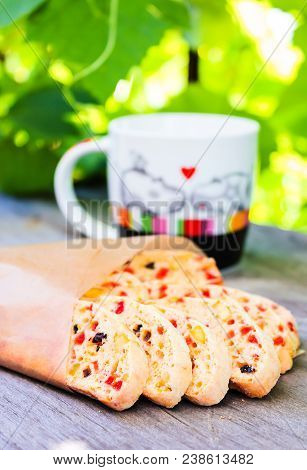 Heap Of Delicious Italian Cantuccini Cookies With Dried Cranberry, Raisin, Pistachios On A Wooden Ta