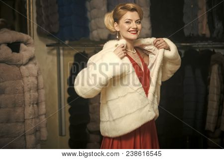 Woman In Fur Coat, Shopaholic. Fashion And Beauty, Winter, Fur. Shopping, Seller, Fashion Model, Cus