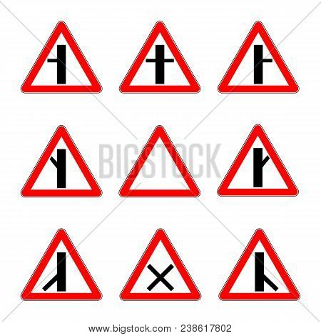 Road Priority Signs. Junction Secondary Road Vector Illustration.