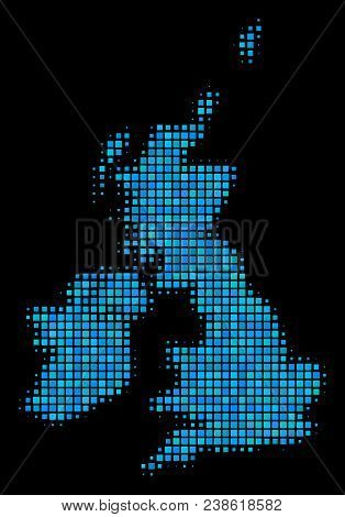 Halftone Dot Great Britain And Ireland Map. Vector Geographical Map In Blue Color Variations On A Bl