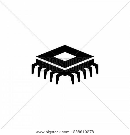 Processor Chip. Cpu Technology Chip. Processor Motherboard Scheme. Circuit Board. Flat Vector Icon.