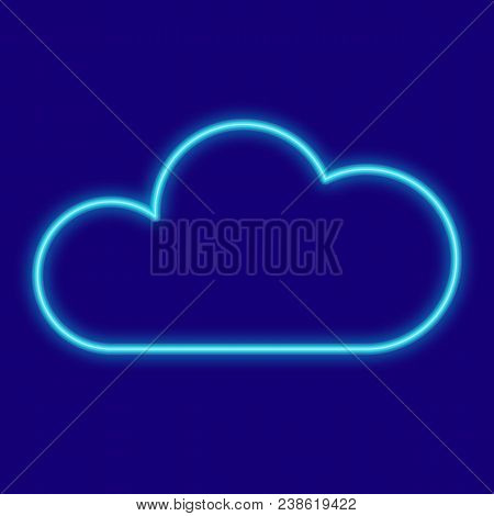 Weather. Cloud. Icons With Neon Glow Effect. Neon Light. Vector Image. Design Element Interface