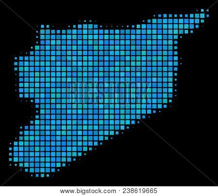 Halftone Dot Syria Map. Vector Geographic Map In Blue Color Tints On A Black Background. Vector Comp