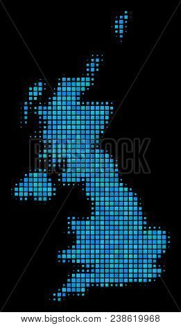 Halftone Dot United Kingdom Map. Vector Geographic Map In Blue Color Tints On A Black Background. Ve
