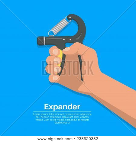 The Hand Squeezes A Carpal Spring Expander.concept Of A Healthy Lifestyle. Training Of Muscles Of Ha