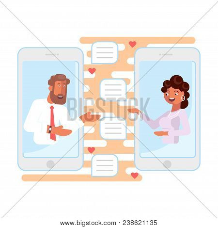 Online Dating And Romantic Concept In Flat Design. Social Media Date App On Smart Phone Screen With
