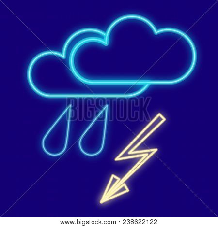 Weather. Cloud, Rain And Lightning, Drops, Thunderstorm. Icons With Neon Glow Effect. Neon Light. Ve