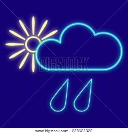 Weather. Clouds, Drops, Rain, Sun. Icons With Neon Glow Effect. Neon Light. Vector Image Design Elem