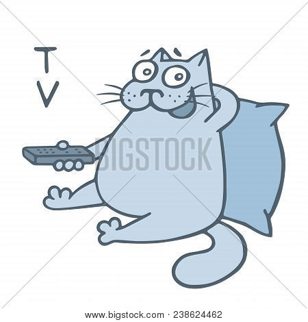 Cartoon Cat With Remote Control Wath Televisor. Vector Illustration. Funny Animal Character