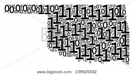 Oklahoma State Map Composition Icon Of Binary Digits In Variable Sizes. Vector Digital Symbols Are U