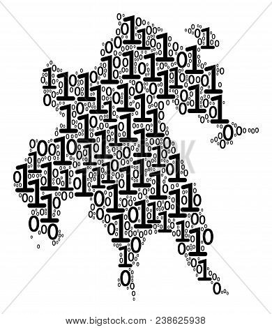 Peloponnese Half-island Map Mosaic Icon Of One And Zero Digits In Various Sizes. Vector Digital Symb