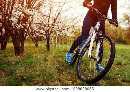 Young Woman Enjoying A Ride On Bicycle In Spring Forest. In The Morning. Close-up Of Bike Wheel. Hel