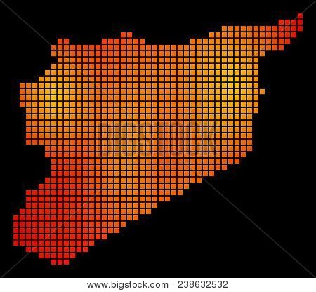 Dot Fire Syria Map. Vector Territory Map In Fire Color Tints On A Black Background. Vector Mosaic Of