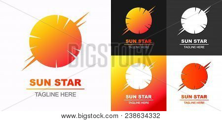 sun star logo set colorful style for eco firm, technology company, t shirt, summer fest, travel firm, emblem, natural energy symbol, logotype, tag, stamp, banner. Sun icon. 10 eps