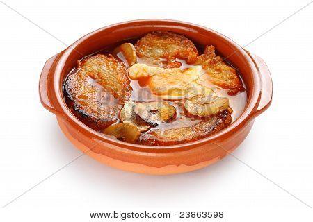 sopa de ajo , castilian garlic soup , spanish food