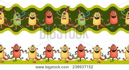 Horizontal Seamless Background For Your Design With Different Cartoon Monsters, Colorful Tile Patter