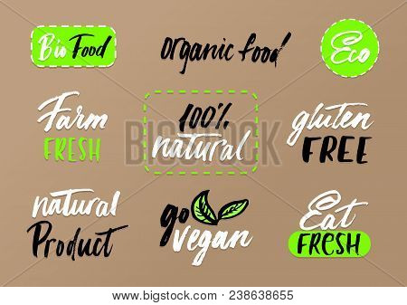 Eco Labels Set On Craft Background. Modern Brush Lettering Eco Food Tags. Vegan, Farm Fresh, Organic