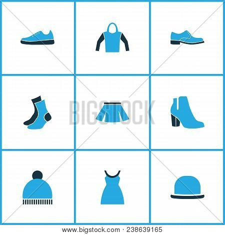 Garment Icons Colored Set With Pompom, Hoodie, Heels And Other Skirt Elements. Isolated Vector Illus