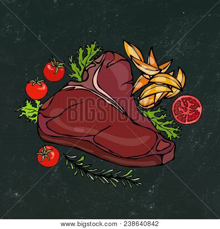 Black Chalk Board Background. Grilled Or Fried Porterhouse Steak On A Plate With Potato Wedges, Toma