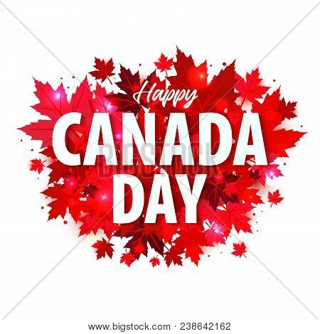 Happy Canada Day Poster. 1st July. Vector Illustration Greeting Card.
