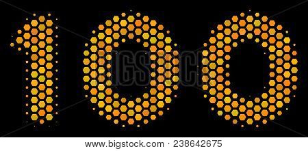 Halftone Hexagonal 100 Text Icon. Bright Gold Pictogram With Honeycomb Geometric Pattern On A Black