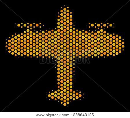 Halftone Hexagonal Aircraft Icon. Bright Yellow Pictogram With Honeycomb Geometric Pattern On A Blac