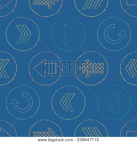 Vector Sketchy Arrow Circles Seamless Pattern Background. Surface Pattern Design Perfect For Fabric,