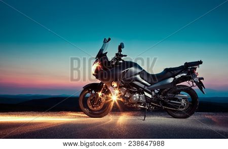 motorbike at sunset