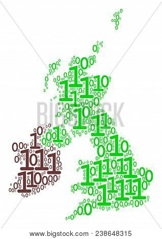 Great Britain And Ireland Map Collage Icon Of One And Zero Digits In Various Sizes. Vector Digital S