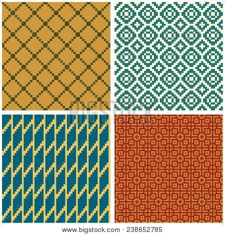 Seamless Geometric Patterns, Saturated Colors. Swatches Are Included. Appropriate For Textile, Packi