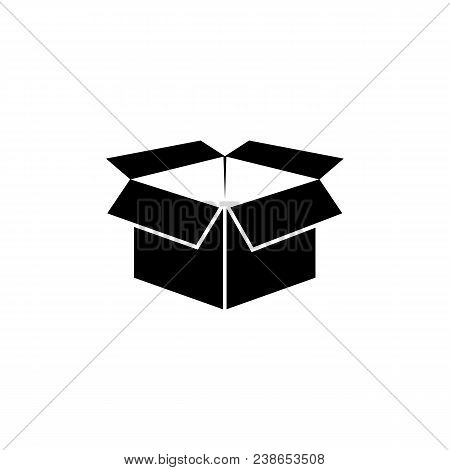 Box Icon In Flat Style. Pack Symbol Isolated On White Background. Simple Open Box Abstract Icon In B